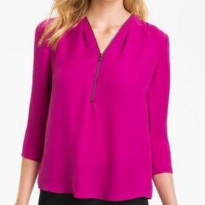 Theory Silk Magenta 3/4 Sleeve Zipper Front Top 0